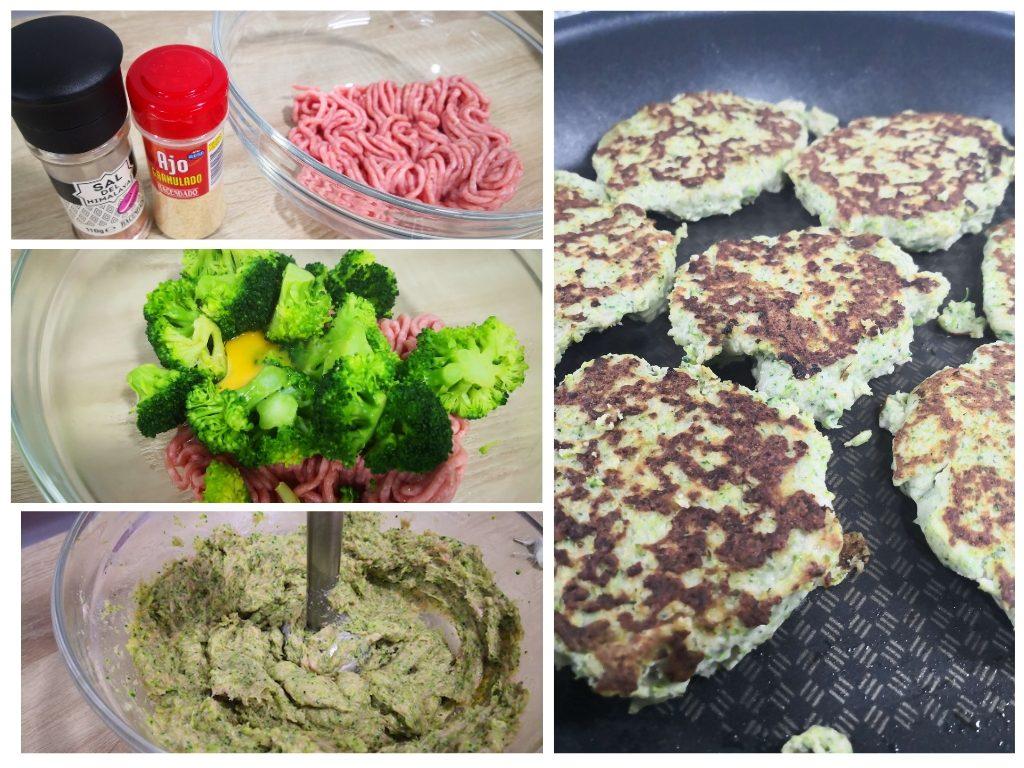 Hamburguesas de pollo y brocoli sanas